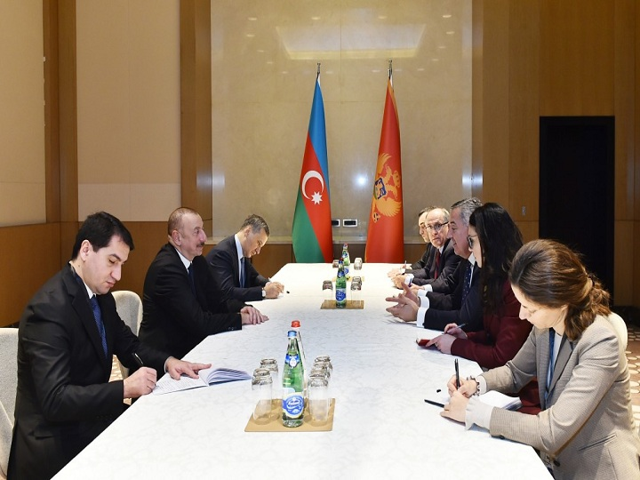 Prezident İlham Əliyevin monteneqrolu həmkarı ilə görüşü olub