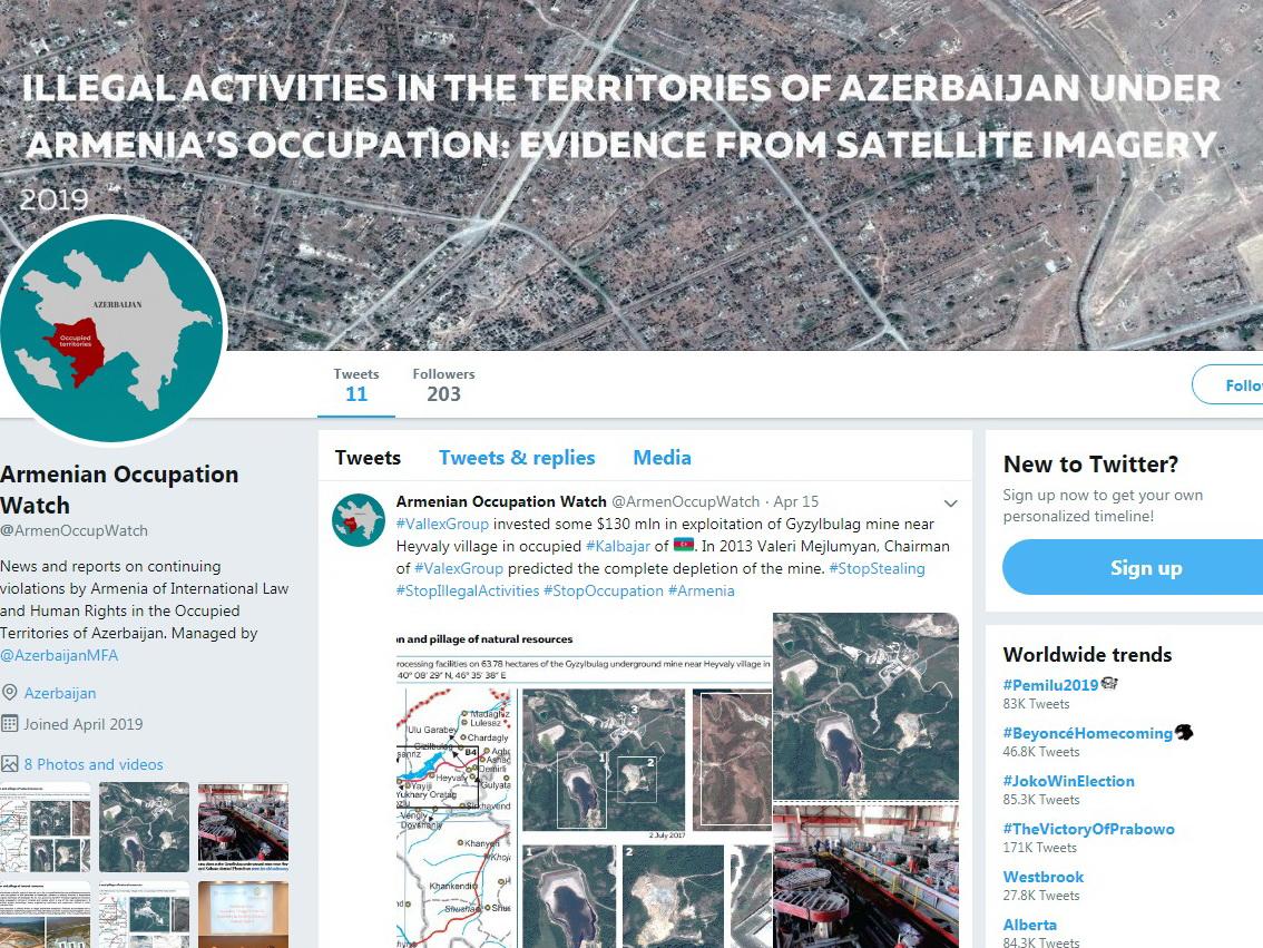 В Twitter создан аккаунт Armenian Occupation Watch