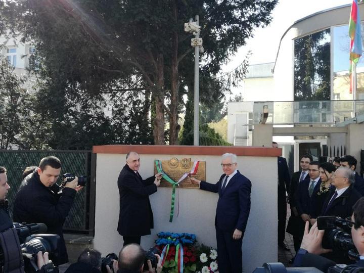 Elmar Məmmədyarov Polşada AXC-nin tanınmasına həsr edilmiş xatirə lövhəsinin açılışında iştirak edib – FOTO