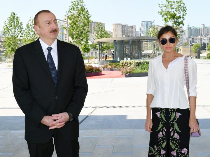 Президент Ильхам Алиев принял участие в открытии сквера и Центрального парка - ФОТО