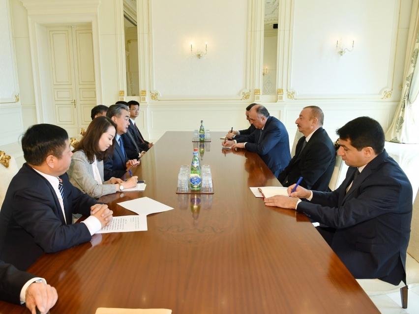 Президент Ильхам Алиев принял делегацию во главе с главой МИД Китая - ФОТО
