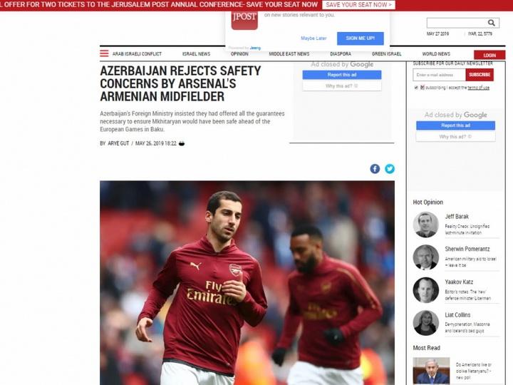 The Jerusalem Post: «Азербайджан резко отрицает возможные проблемы безопасности армянского полузащитника Арсенала»