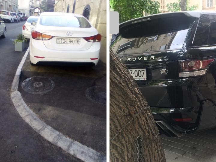 Безобразие в центре Баку: Водители ломают цветочные клумбы и паркуются на отремонтированных тротуарах – ФОТОФАКТЫ