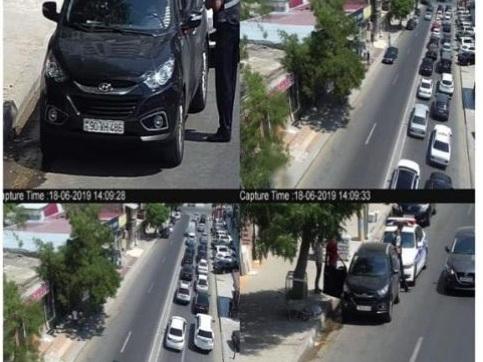 В Баку оштрафовали за парковку водителя, остановленного Дорожной полицией – ФОТОФАКТ