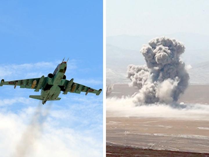 Су-25 ВВС Азербайджана нанесли штурмовые удары по условному противнику - ФОТО - ВИДЕО