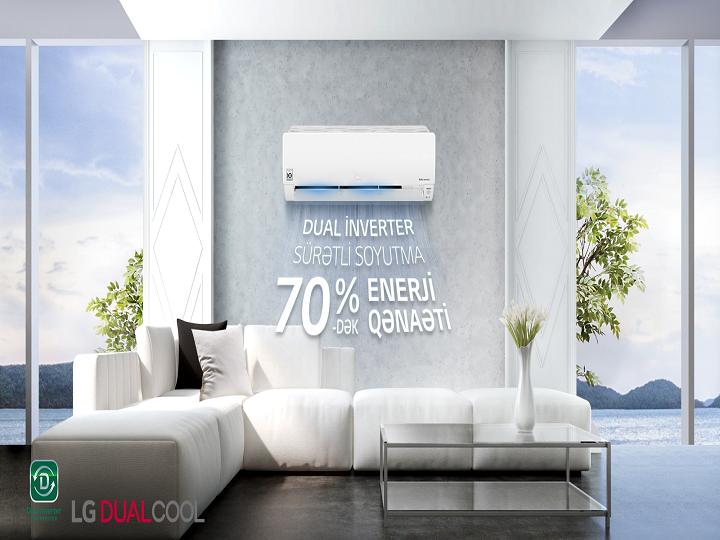 LG DUALCOOL Inverter kondisionerləri 70%-dək enerji qənaəti və 40%-dək daha sürətli soyutmanı təmin edir