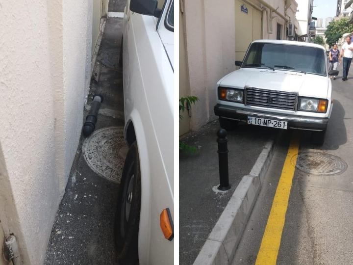 «Ломают и паркуются»: Даже столбики не спасают бакинские тротуары от наглых водителей – ФОТОФАКТ