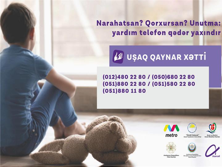 """Azercell-in dəstəklədiyi """"Uşaq Qaynar Xətt"""" xidmətinə yay ayları ərzində 1547 müraciət daxil olub"""