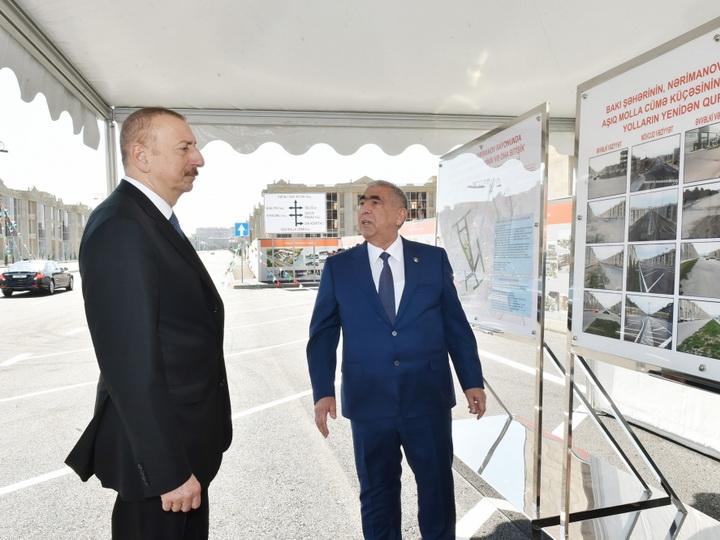 Президент Ильхам Алиев принял участие в открытии реконструированных дорог в Баку - ФОТО