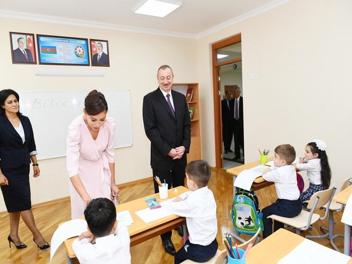 Prezident 300 nömrəli məktəbin yeni tədris kompleksinin açılışında iştirak edib - YENİLƏNİB