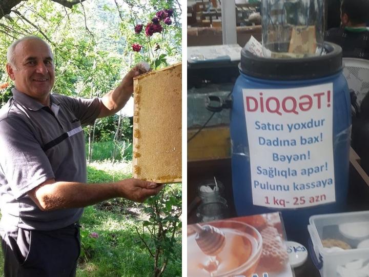 Пчеловод, оставивший мед в Баку на совесть покупателей: «Если кто-то решит взять, не заплатив...» - ФОТО