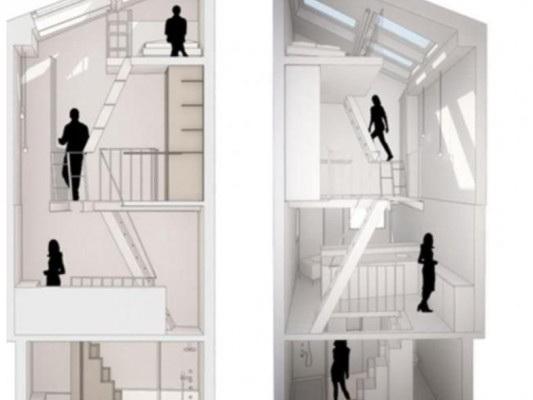 Самый узкий дом: Четыре этажа на 25 «квадратов»