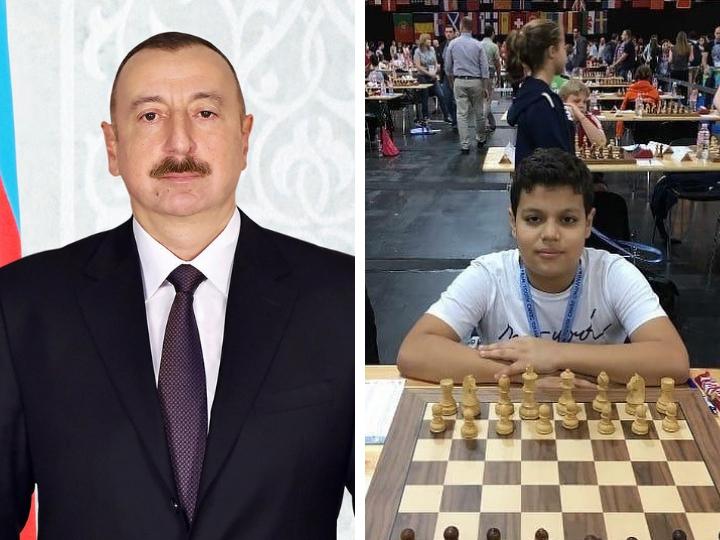 Президент Ильхам Алиев поздравил юного азербайджанского шахматиста с победой на чемпионате мира
