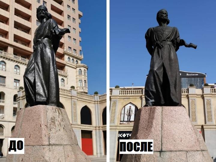 «Кто и зачем покрасил памятники Низами и Насими в Баку?» - НАШИ ПОДРОБНОСТИ – ФОТО
