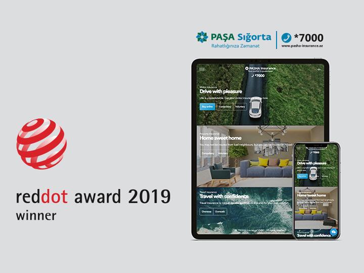 """PAŞA Sığorta şirkətinin saytı beynəlxalq """"Red Dot Award"""" mükafatına layiq görülüb"""