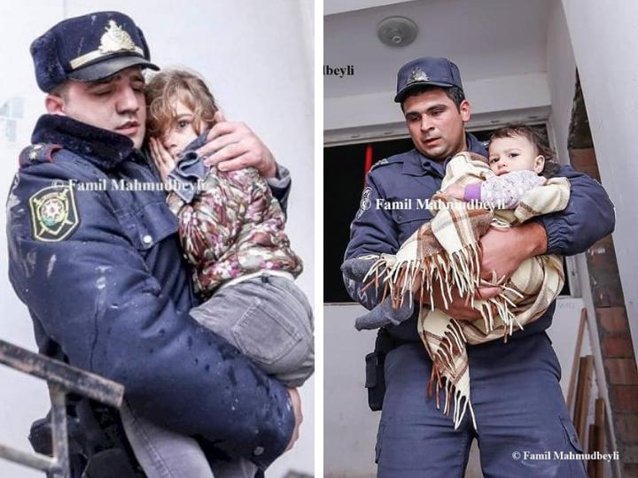 Беспокойная ночь: В Баку сотрудники полиции и МЧС спасли детей из горящего дома - ФОТО