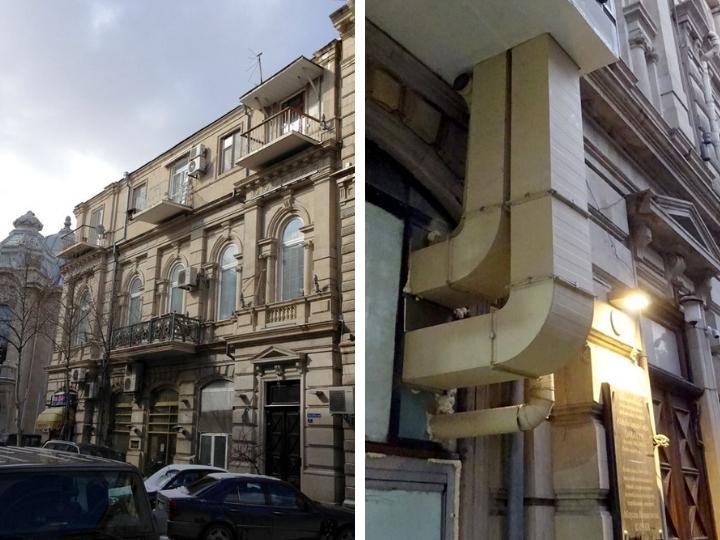 «Охватили трубами, как спрут щупальцами»: Печальная метаморфоза архитектурного дома в центре Баку - ФОТОФАКТЫ