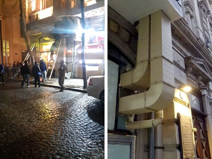 В центре Баку демонтируются трубы с фасада архитектурного здания - ФОТО
