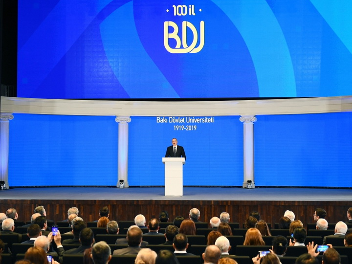 Президент Ильхам Алиев принял участие в церемонии по случаю 100-летнего юбилея БГУ - ФОТО