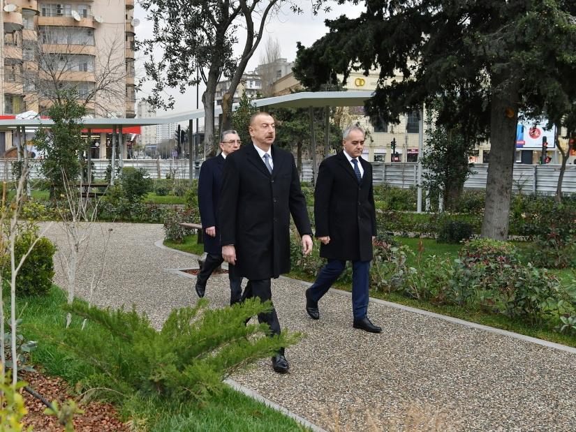 Президент Ильхам Алиев ознакомился с работами по реконструкции, проведенными в еще одном парке Баку – ФОТО