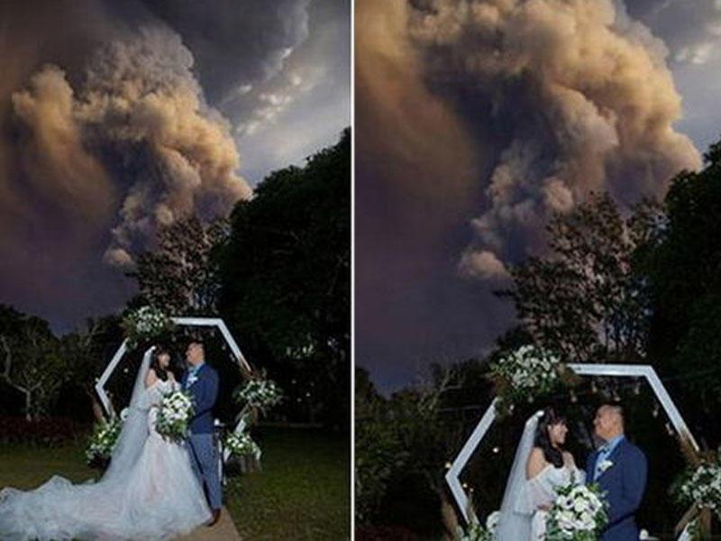 Püskürən vulkanın altında evləndilər - VİDEO