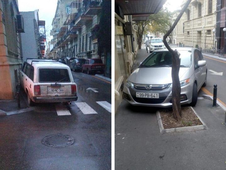 «Тротуар нам, а не пешеходам»: Уничтожение столбиков и другие новые наглые уловки водителей в центре Баку - ФОТОФАКТЫ
