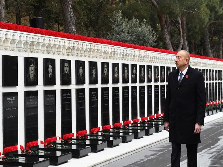 Prezident İlham Əliyev 20 Yanvar şəhidlərinin əziz xatirəsini yad edib – FOTO – YENİLƏNİB