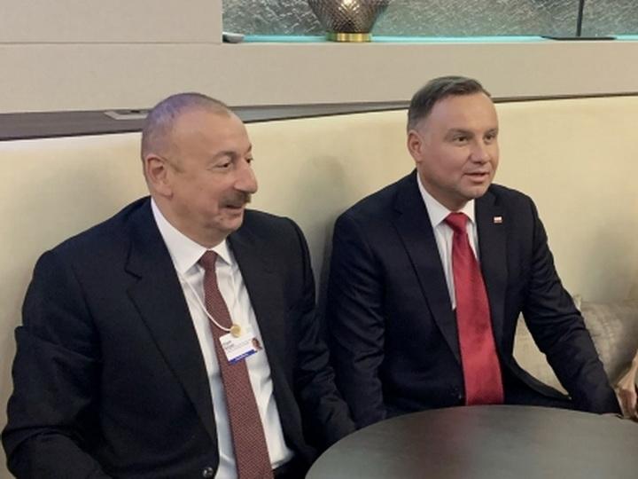 В Давосе состоялась встреча Президента Азербайджана и Президента Польши - ФОТО