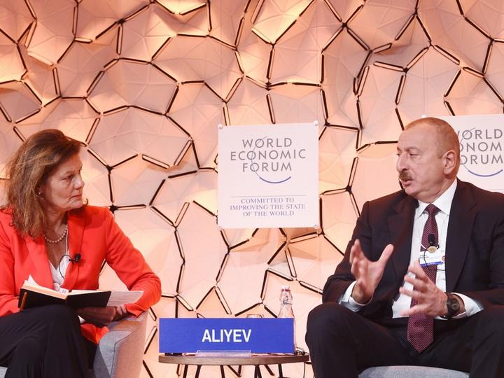 Президент Ильхам Алиев принял участие в панели на тему «Стратегический взгляд: Евразия» Давосского всемирного экономического форума - ФОТО