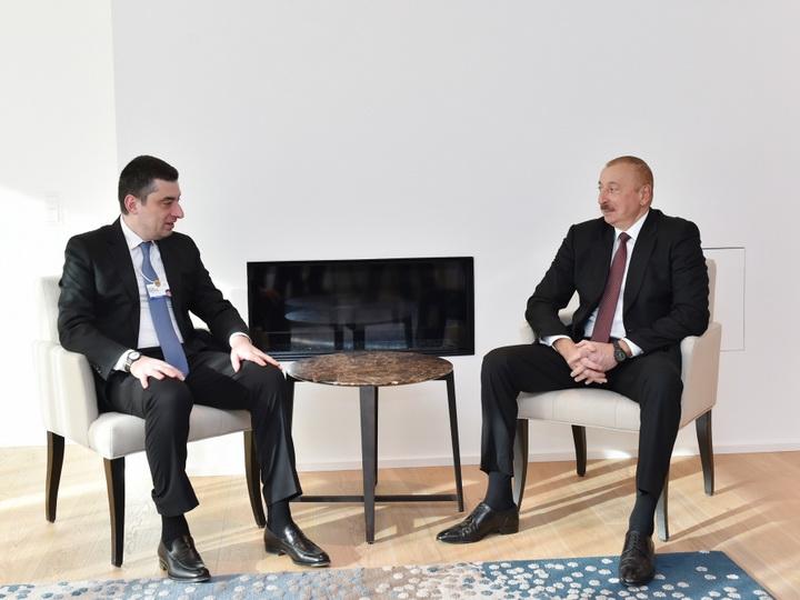 В Давосе состоялась встреча Президента Ильхама Алиева с премьер-министром Грузии - ФОТО