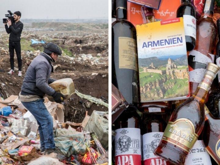 Азербайджанские таможенники уничтожили армянский коньяк и сувениры - ФОТО