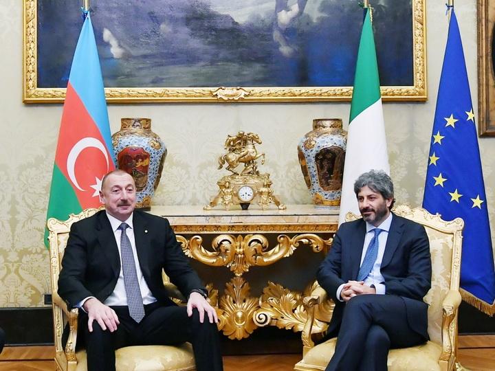 Президент Ильхам Алиев встретился с председателем палаты депутатов Италии - ФОТО