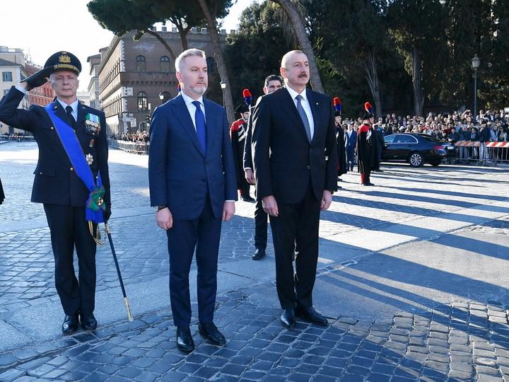 Президент Ильхам Алиев посетил в Риме памятник неизвестному солдату - ФОТО