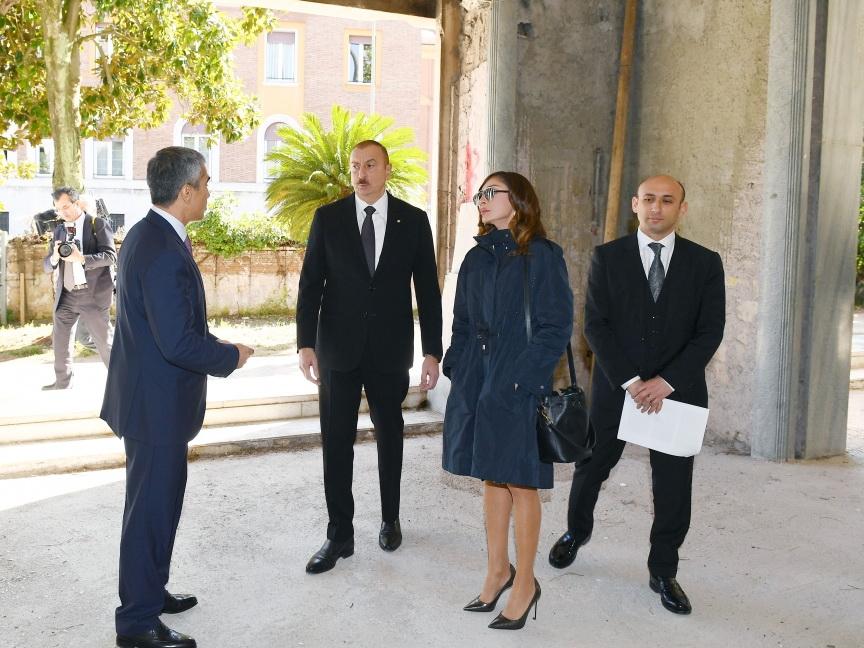Ильхам Алиев и Мехрибан Алиева ознакомились со зданием, предназначенным для Центра азербайджанской культуры в Риме - ФОТО