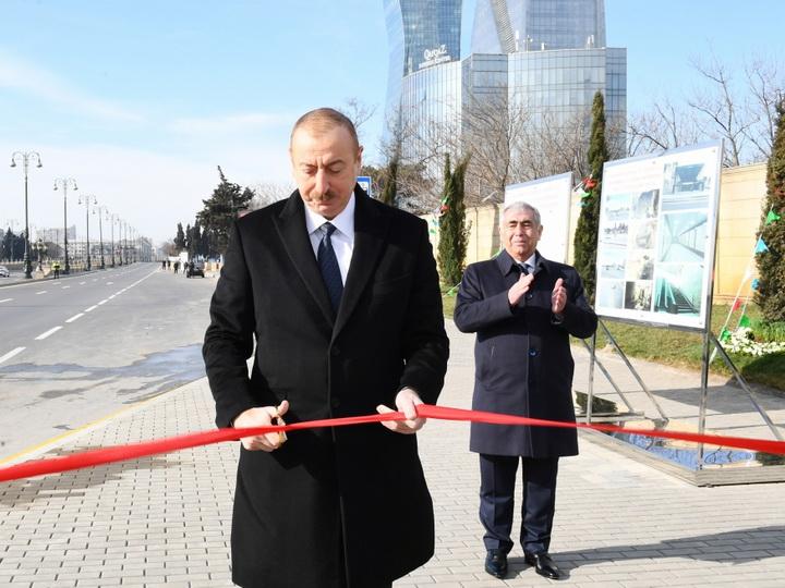 Ильхам Алиев принял участие в открытии подземного пешеходного перехода в Баку - ФОТО