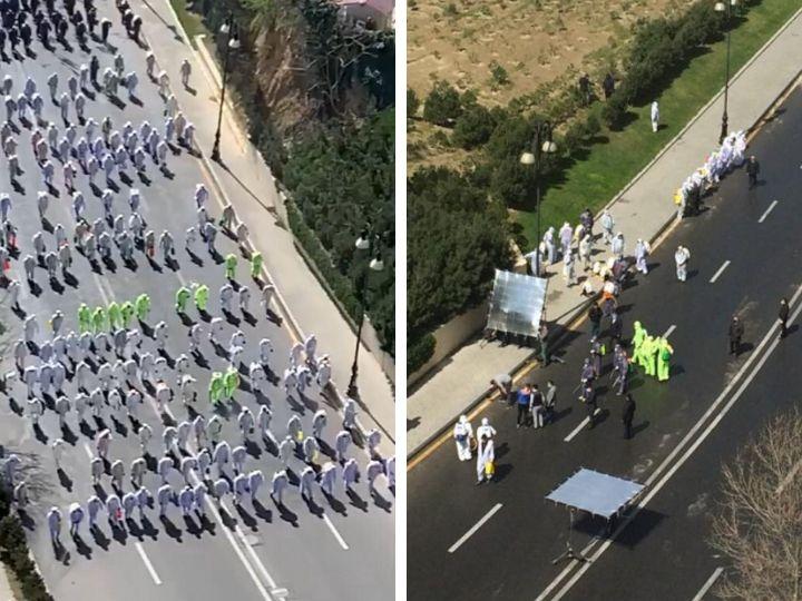 Толпа людей в спецодежде в Баку заинтересовала пользователей соцсетей – ВИДЕО