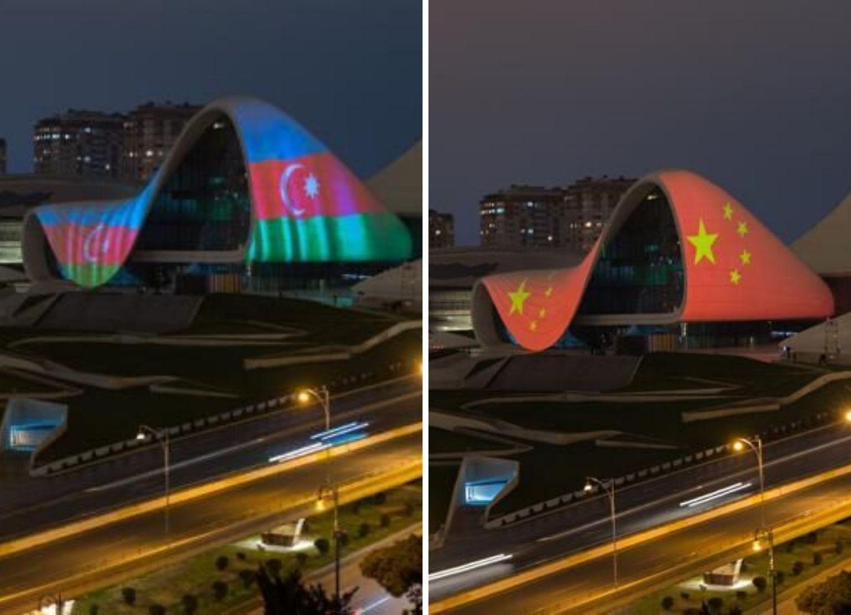 Солидарность: Центр Гейдара Алиева украсился флагами Азербайджана и Китая – ФОТО - ВИДЕО