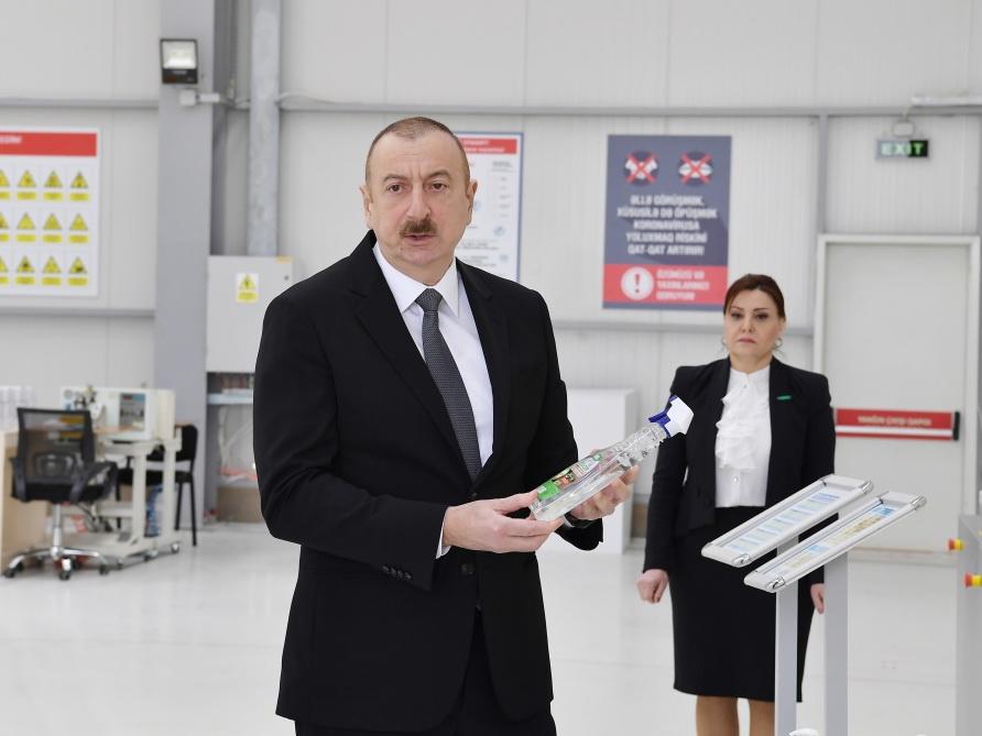 Президент Ильхам Алиев принял участие в открытии предприятия по производству медицинских масок - ФОТО - ВИДЕО