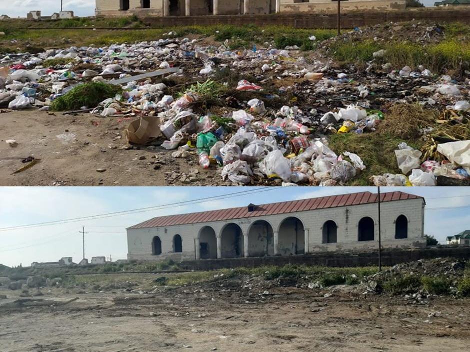 Очищена от мусора одна из железнодорожных станций Баку - ФОТОФАКТ
