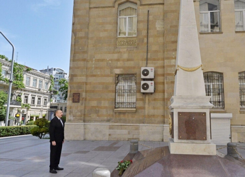 Президент Ильхам Алиев посетил памятник, возведенный в честь АДР - ФОТО