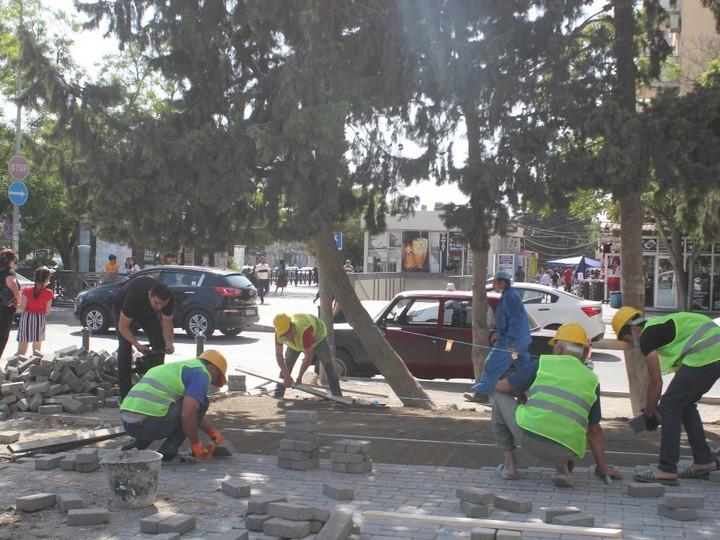 Bakının kənar küçələrində yenidənqurma işləri aparılır - FOTO