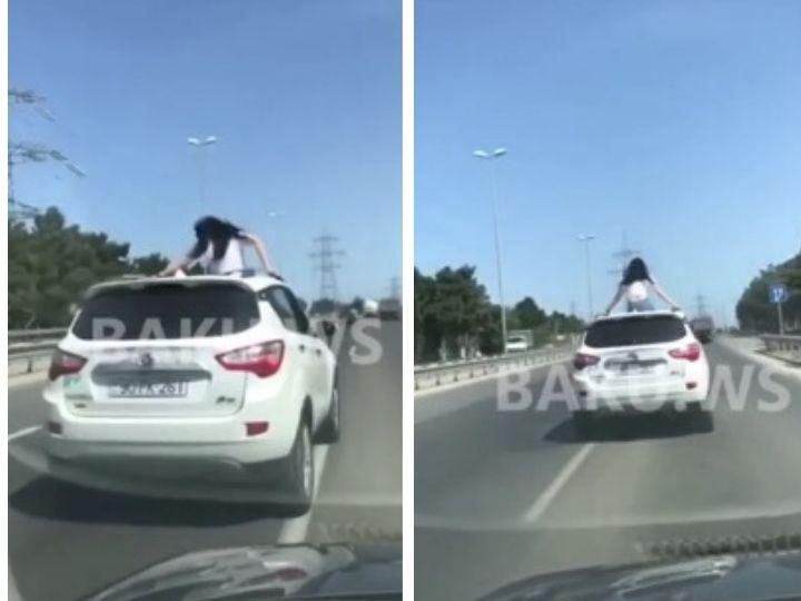 Смертельно опасные трюки девушки на автомобиле в Баку – ВИДЕО