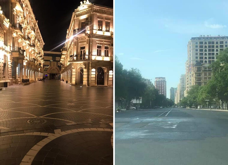 Пустынные улицы карантинного Баку – ФОТО