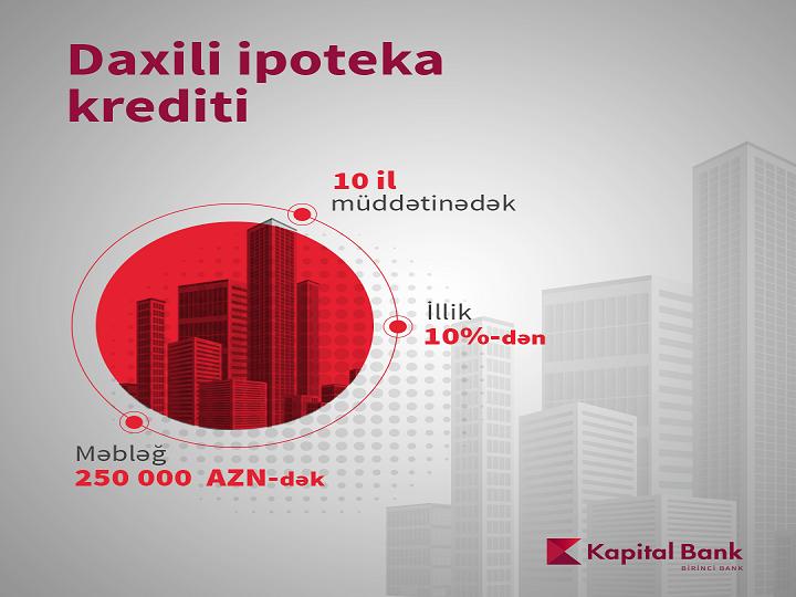 Kapital Bank sərfəli şərtlərə daxili ipoteka krediti təklif edir