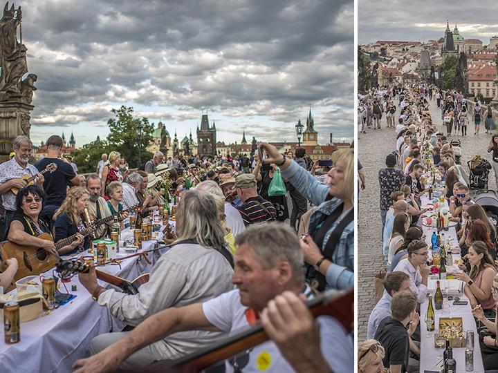 Пир наКарловоммосту:500-метровый стол в честь окончания карантинав Чехии– ФОТО – ВИДЕО