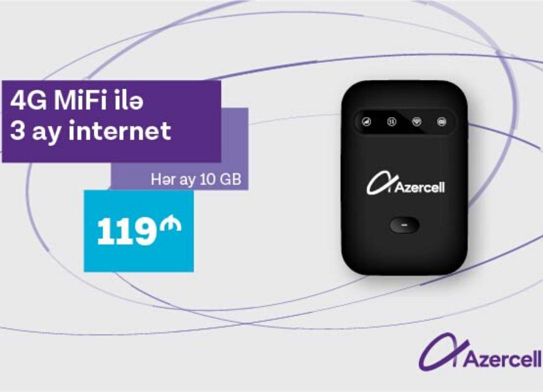 4G MiFi и 3 месяца по 10 GB Интернета всего за 119 AZN от Azercell!