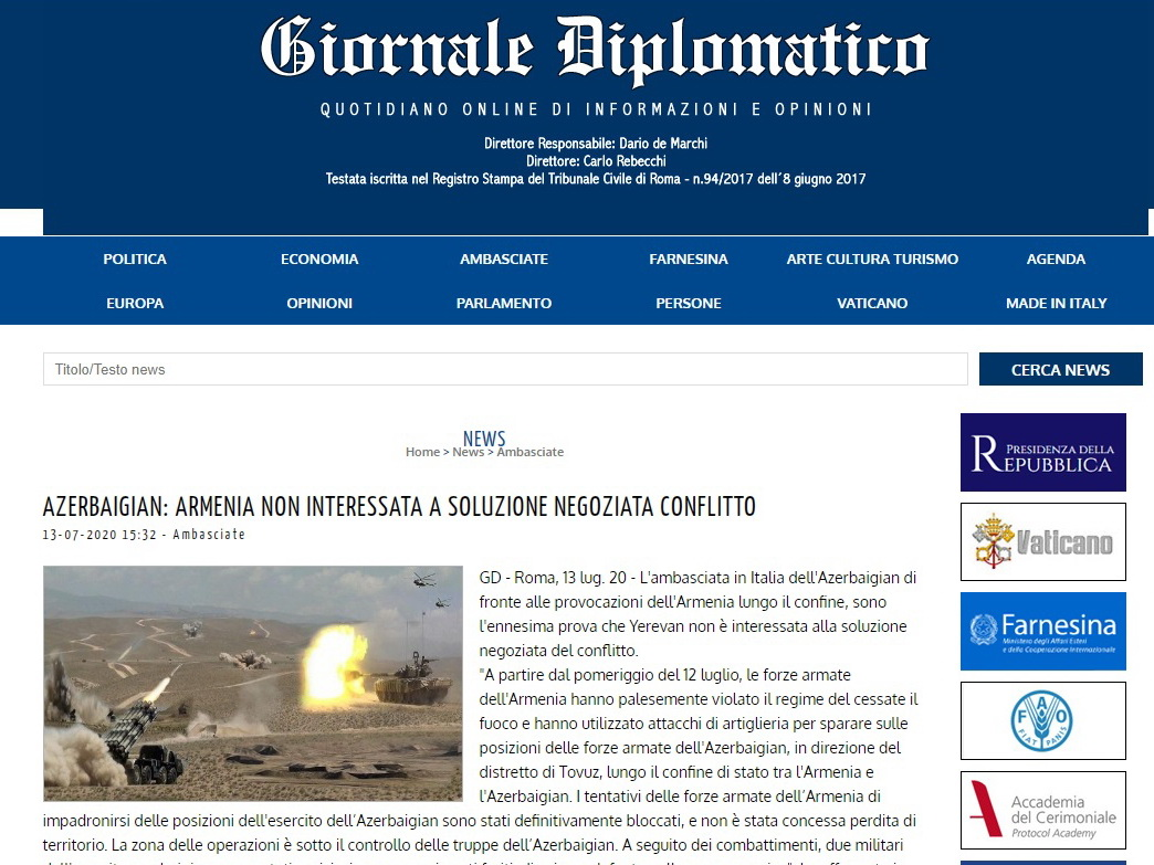 В итальянских СМИ опубликованы статьи, осуждающие армянскую провокацию