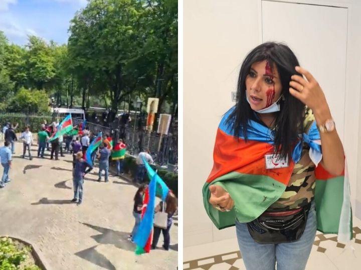Армянские радикалы закидали камнями азербайджанцев в Брюсселе, ранена сотрудница Real TV - ФОТО - ВИДЕО