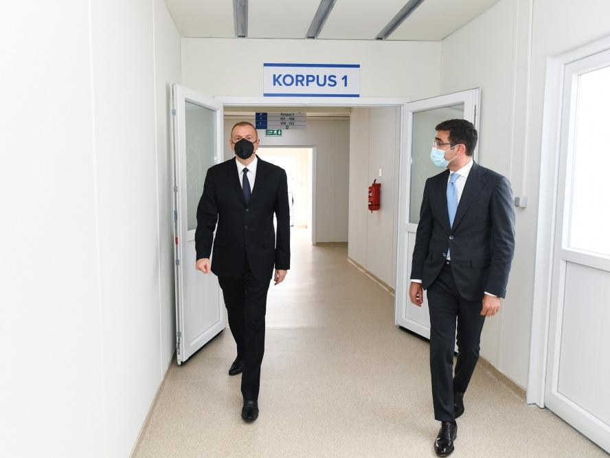 Президент Ильхам Алиев ознакомился с условиями, созданными в больнице модульного типа в Шеки - ФОТО