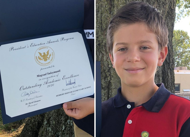 10-летний азербайджанец получил премию президента США за достижения в образовании – ФОТО